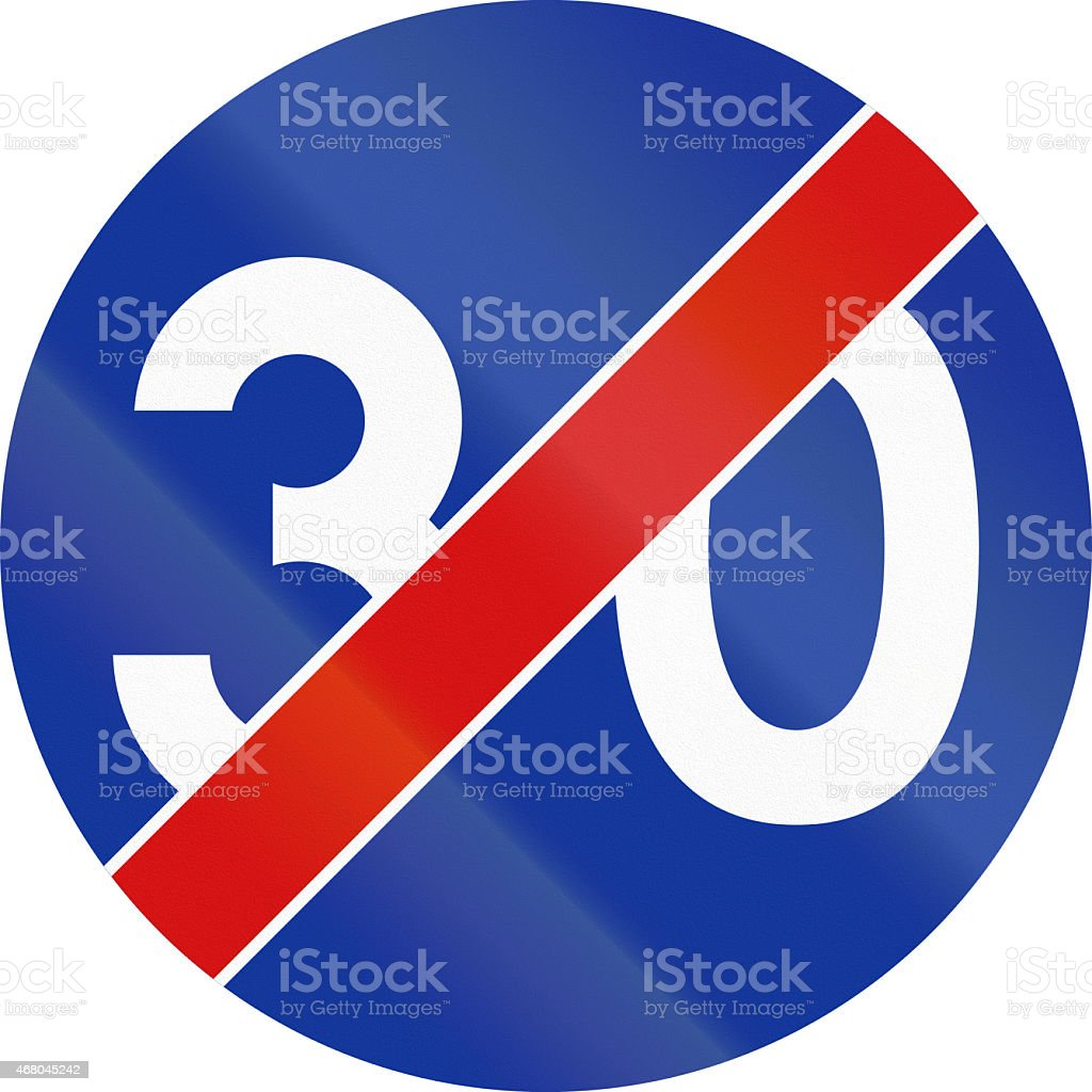 End Of Minimum Speed 30 in Poland stock photo