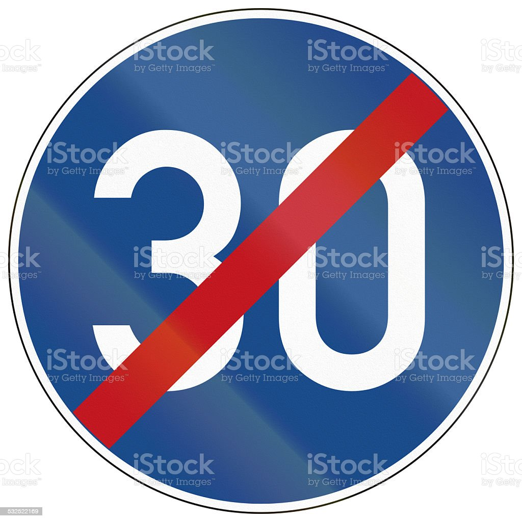 End Of Minimum Speed 30 stock photo