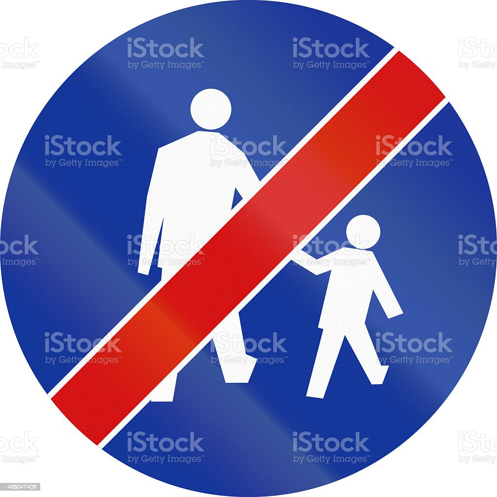 End Of Pedestrian Lane in Poland stock photo