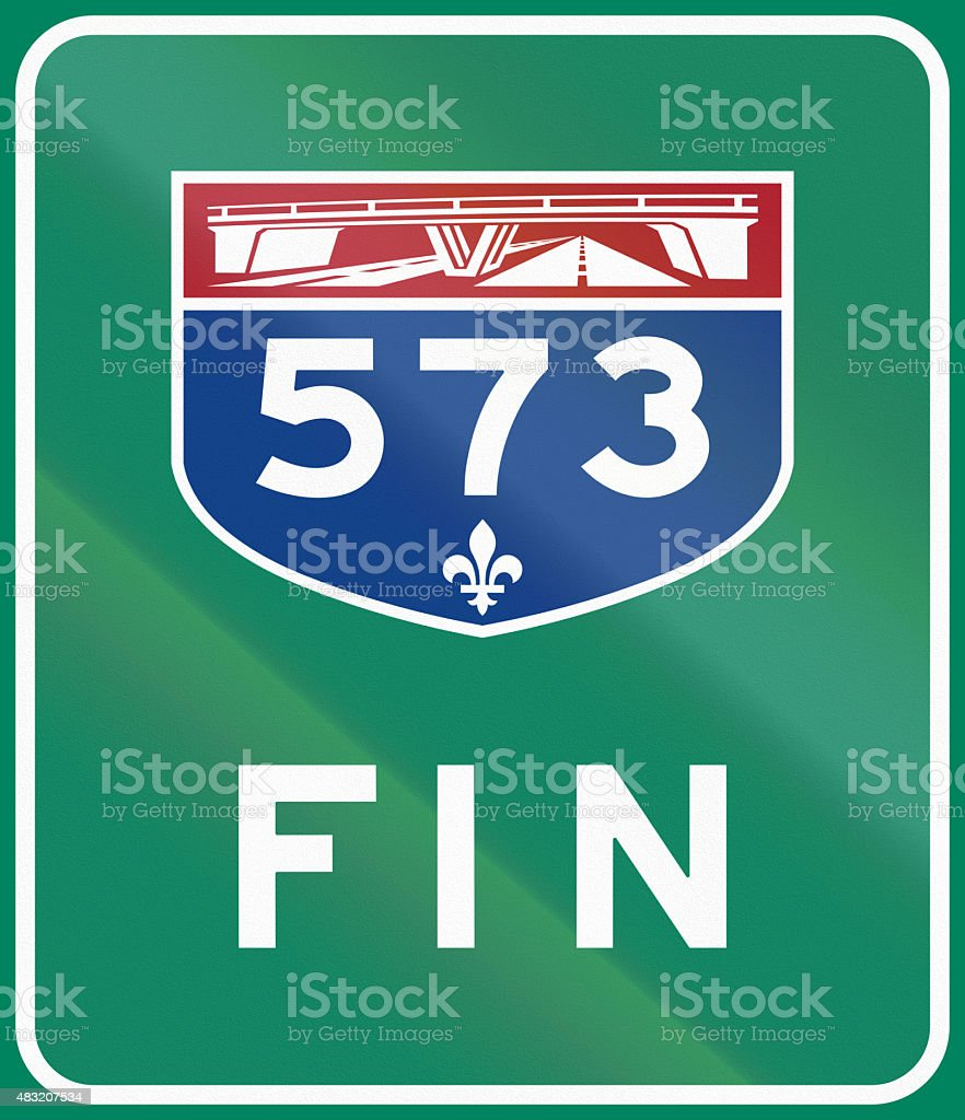 End Of Quebec Highway 573 stock photo