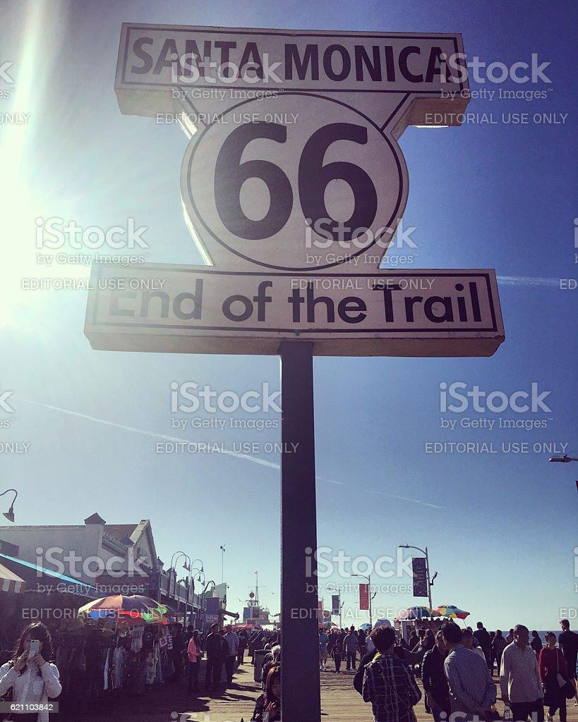 End of Route 66 on Santa Monica Pier stock photo