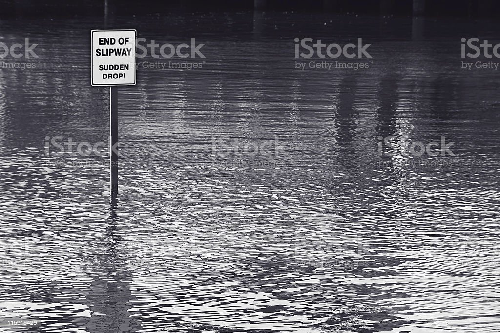 End of slipway - sudden drop! - Flooded area stock photo