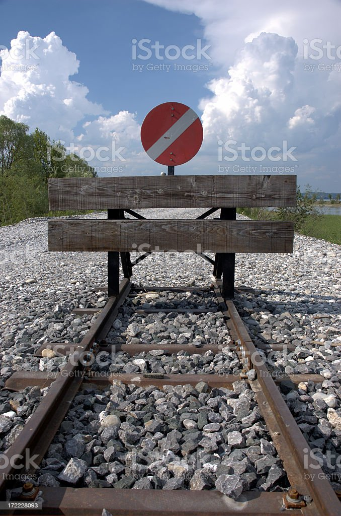 end of the line stock photo