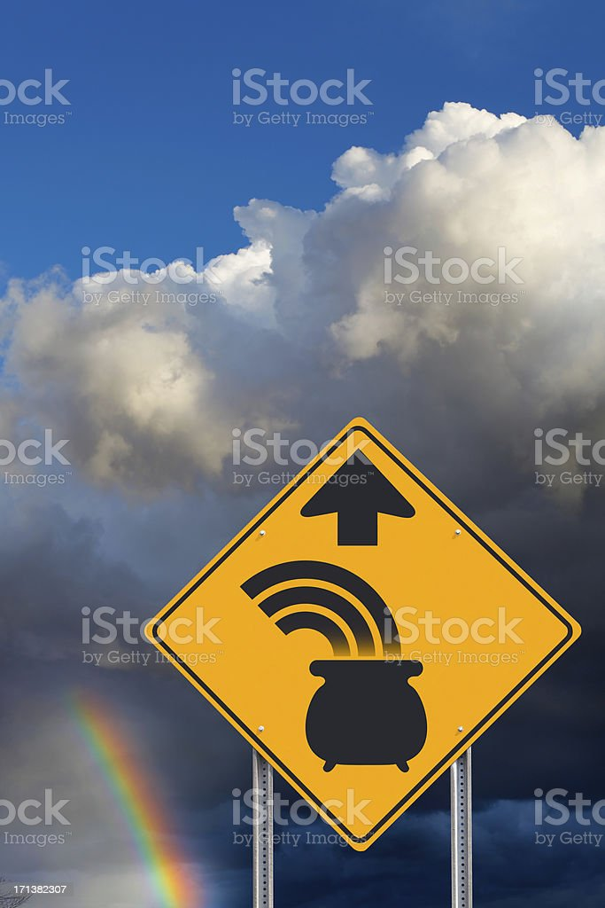 End Of The Rainbow Sign stock photo
