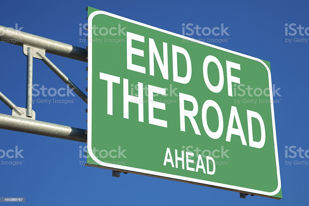End of the Road Ahead Highway Sign royalty-free stock photo