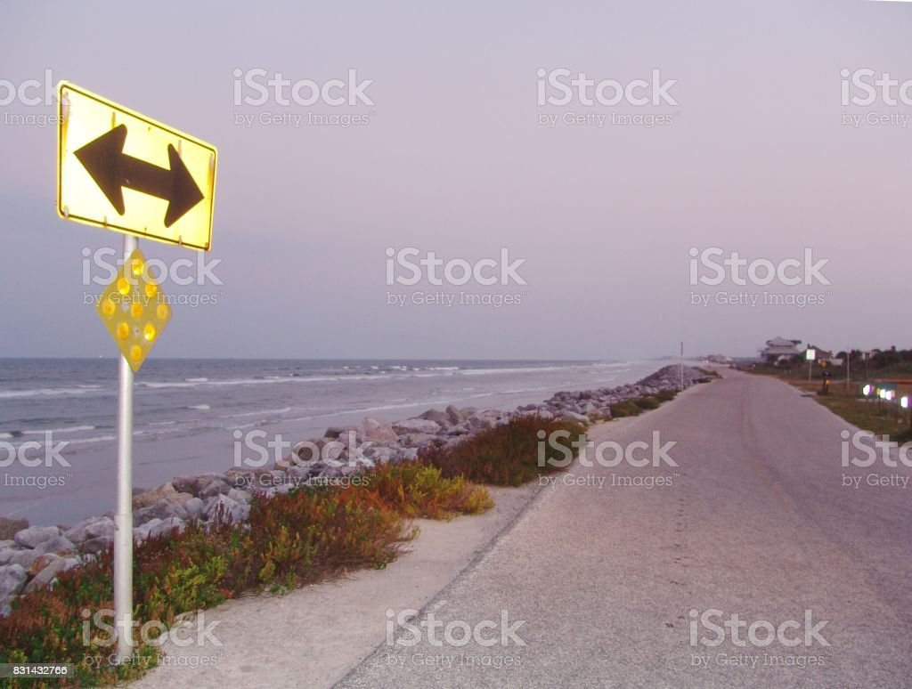 End of the road, Section of old A1A eroding away, Florida East Coast stock photo