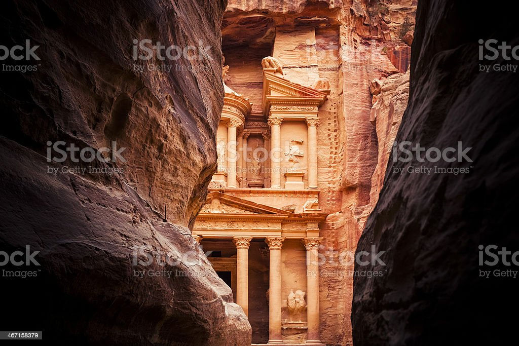 End of the Siq - Al Khazneh in Petra stock photo