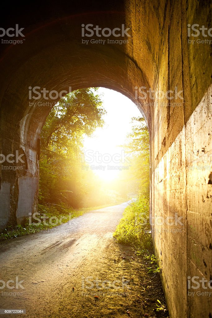 End Of The Tunnel Sunset stock photo
