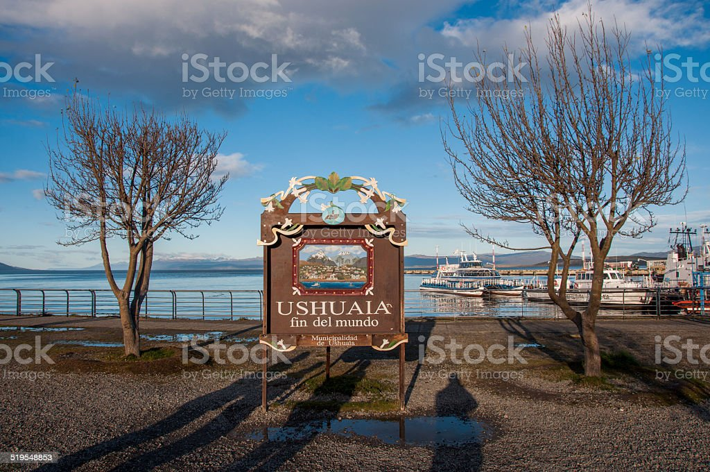 End of the world in Ushuaia, Tierra del Fuego, Argentina stock photo