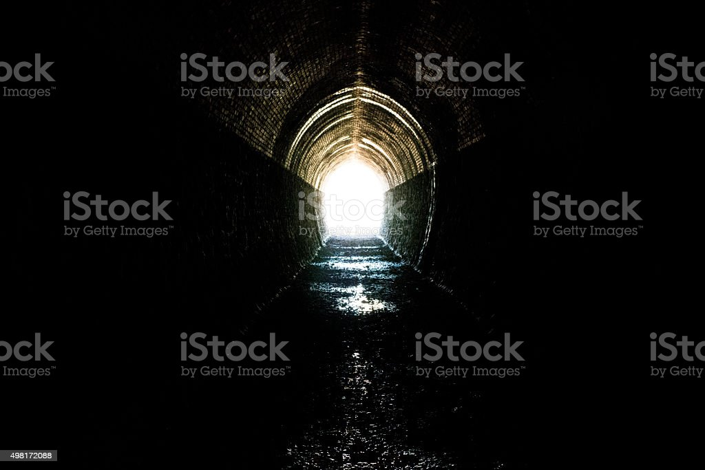 end of tunnel stock photo