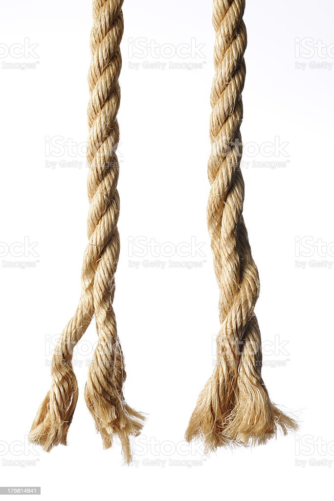 End of two brown ropes against white background stock photo