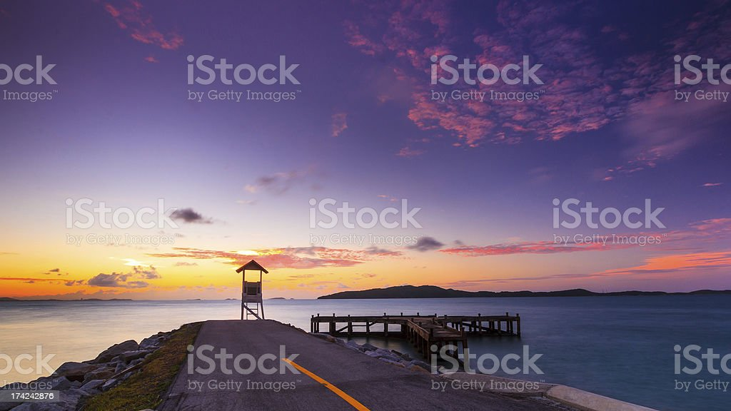 End road is sunrise royalty-free stock photo