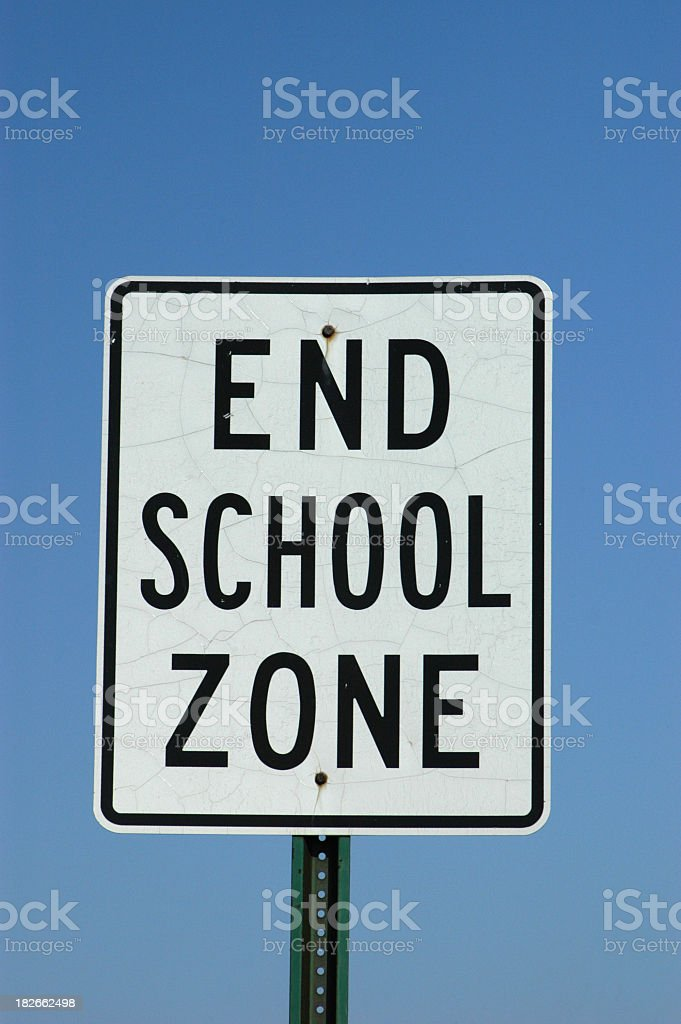 End School Zone Sign, Road Sign royalty-free stock photo