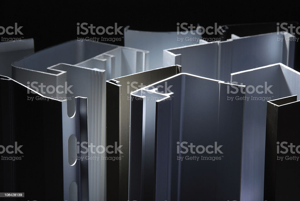 End sections of metal aluminum profiles royalty-free stock photo