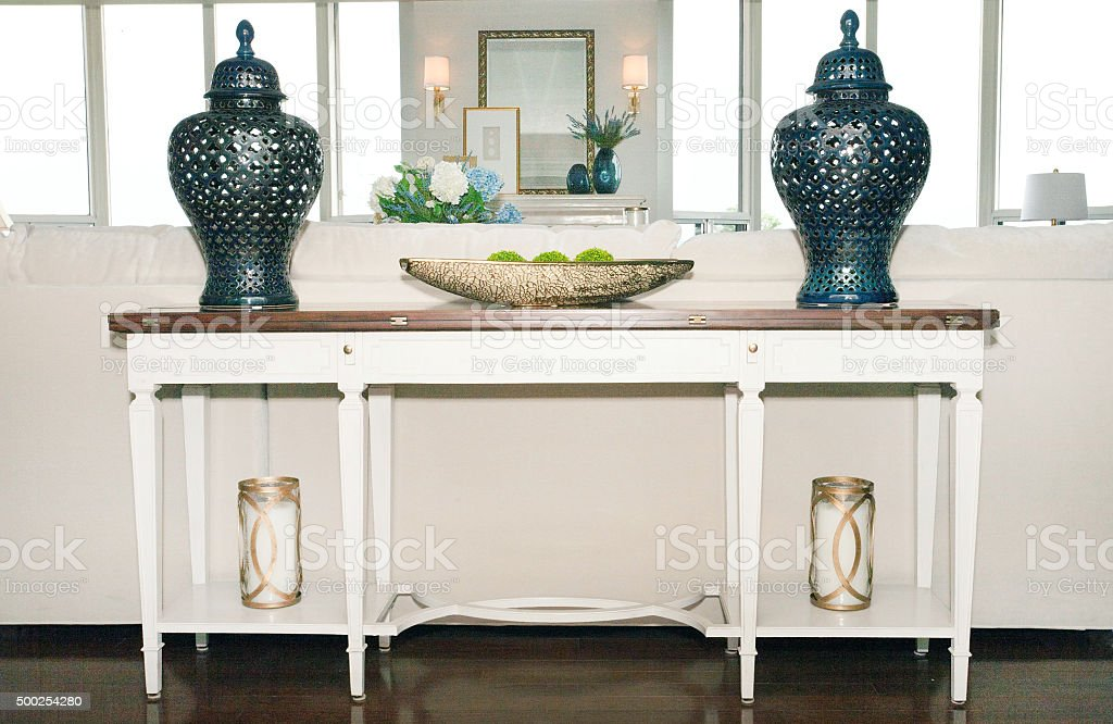 end table in living room stock photo