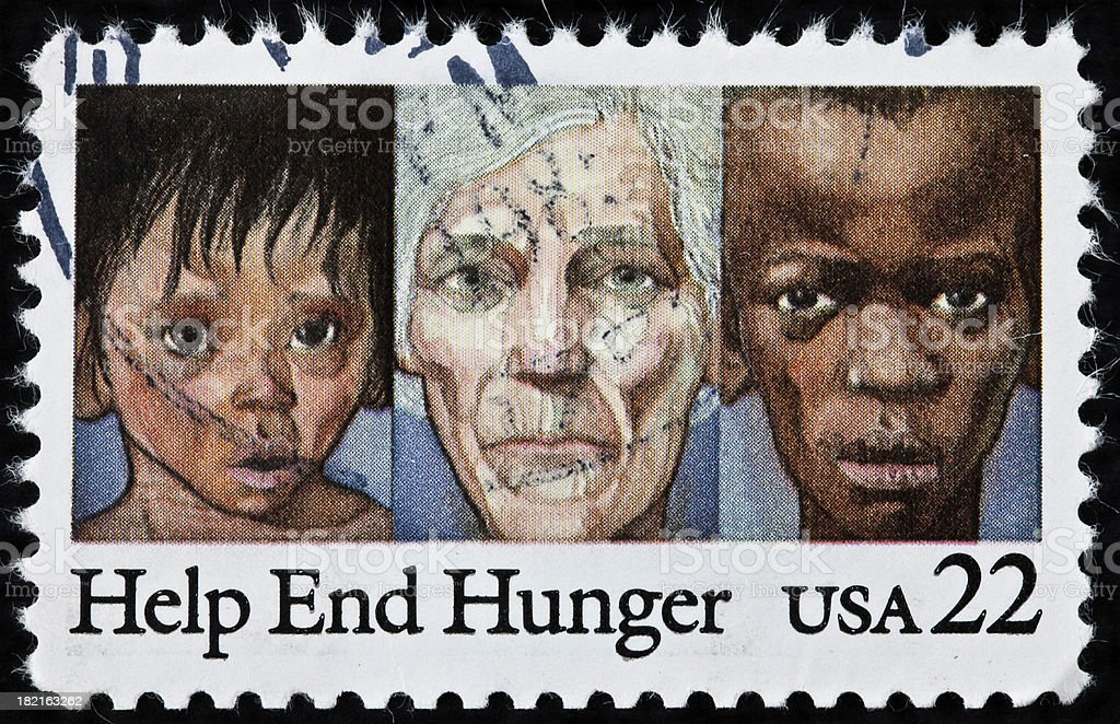 End World Hunger Stamp stock photo