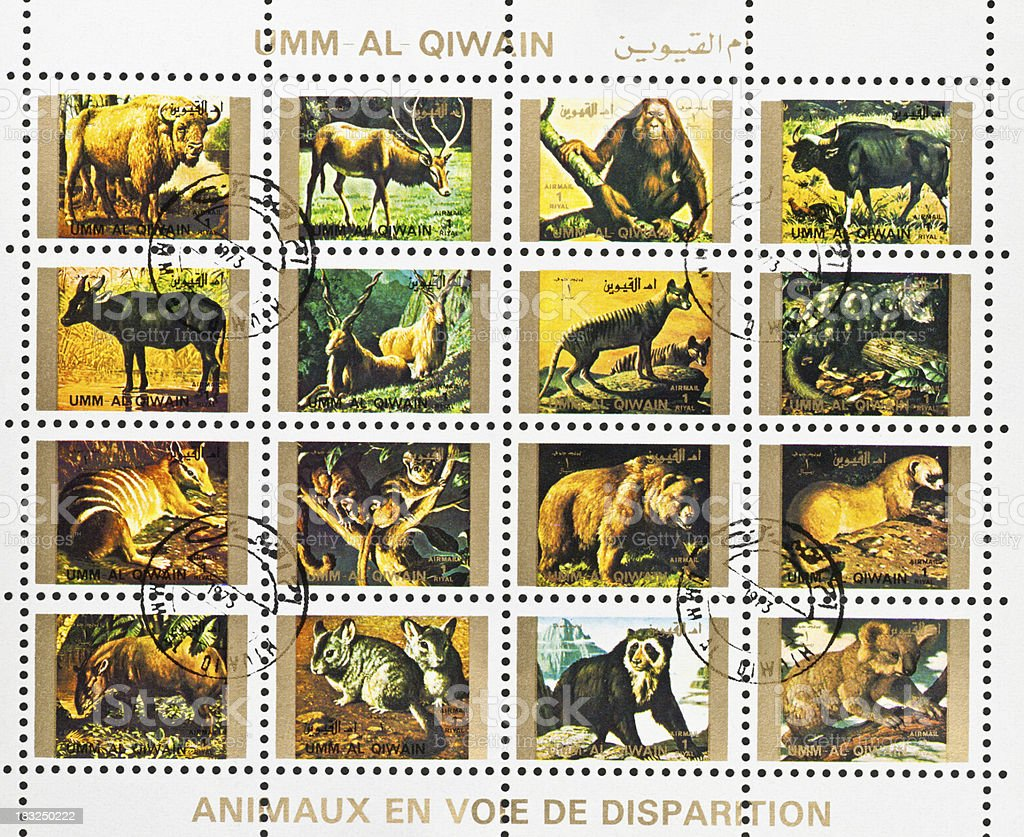 endangered species on motive stamps of Umm Al Qiwain stock photo