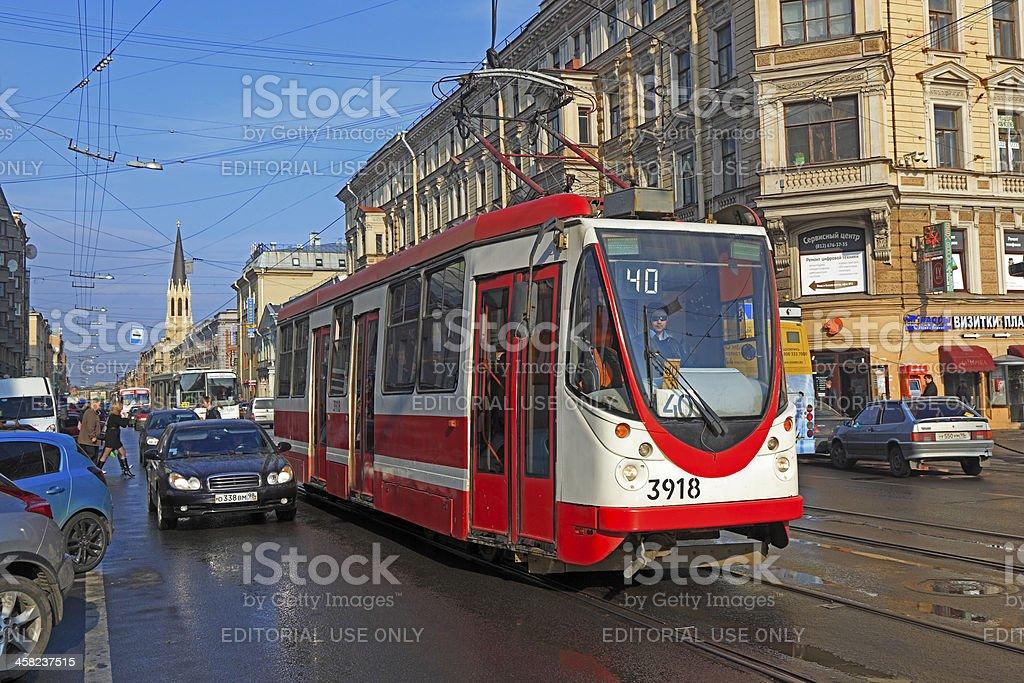 Endangered transport species – St Petersburg tram royalty-free stock photo