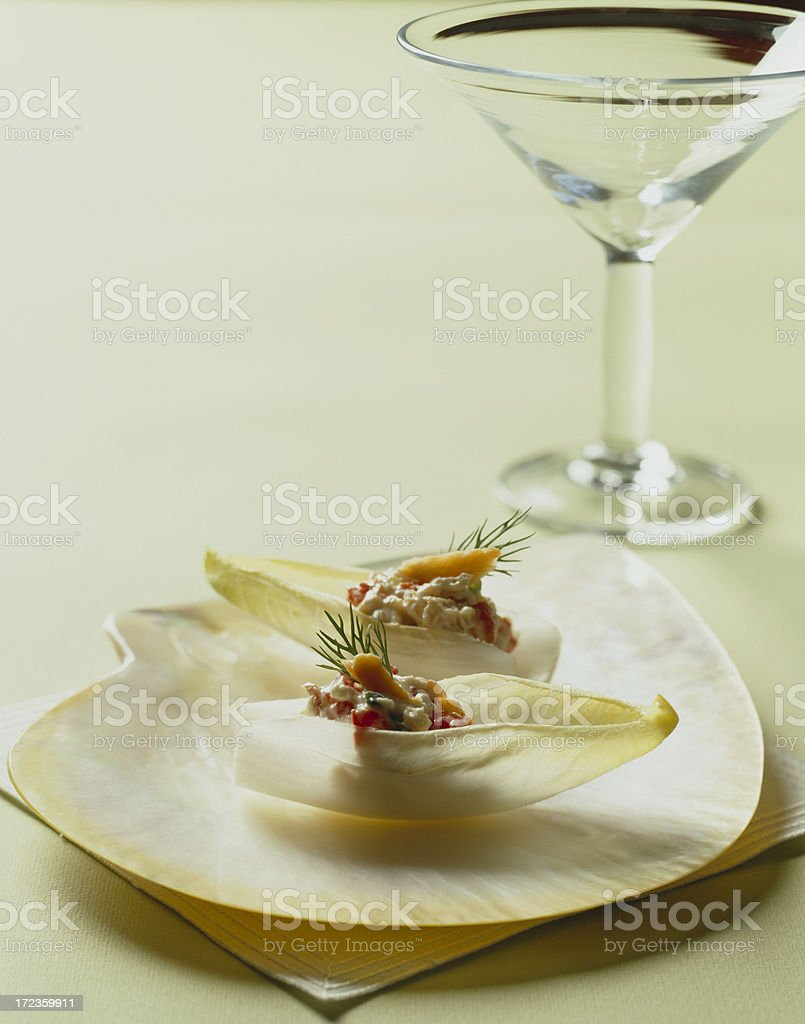 Endive Appetiser with salmon and Martini glass royalty-free stock photo