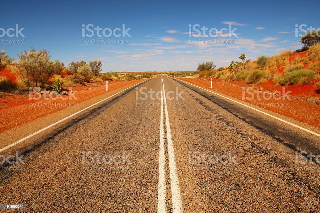 Endless Australian outback roads stock photo