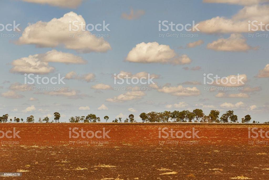 Endless barren field stock photo