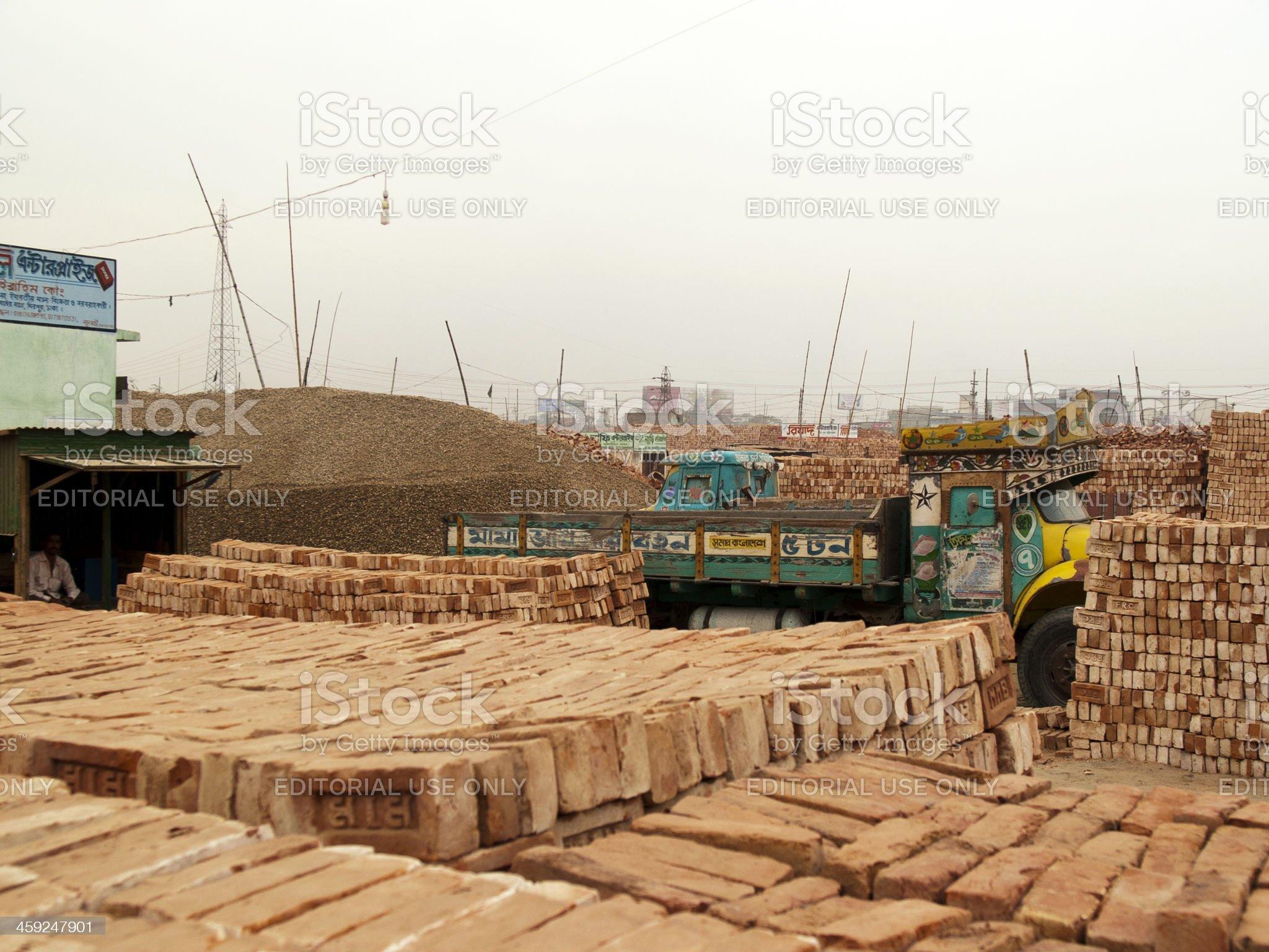 Endless Brick fields on the outskirts of Dhaka city royalty-free stock photo