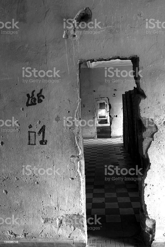 Endless corridors in the death prison, Phnom Penh (Cambodia) b&n stock photo