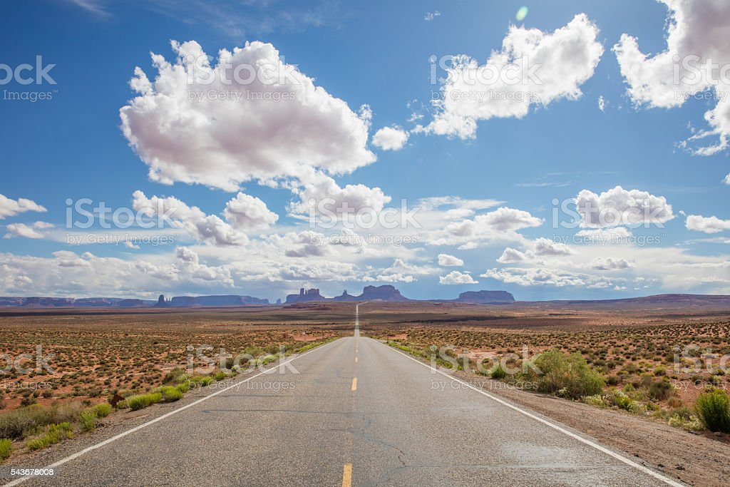 Endless Highway Monument Valley Route 163 Arizona Utah USA stock photo
