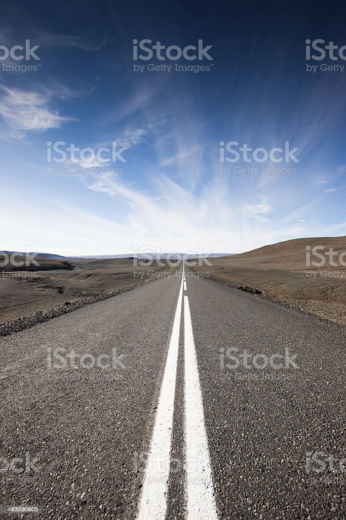 Endless Highway Volcanic Highlands Iceland stock photo