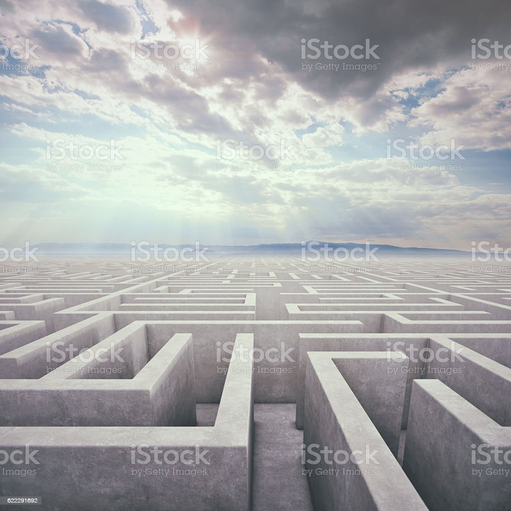 Endless Maze In Surreal Place stock photo