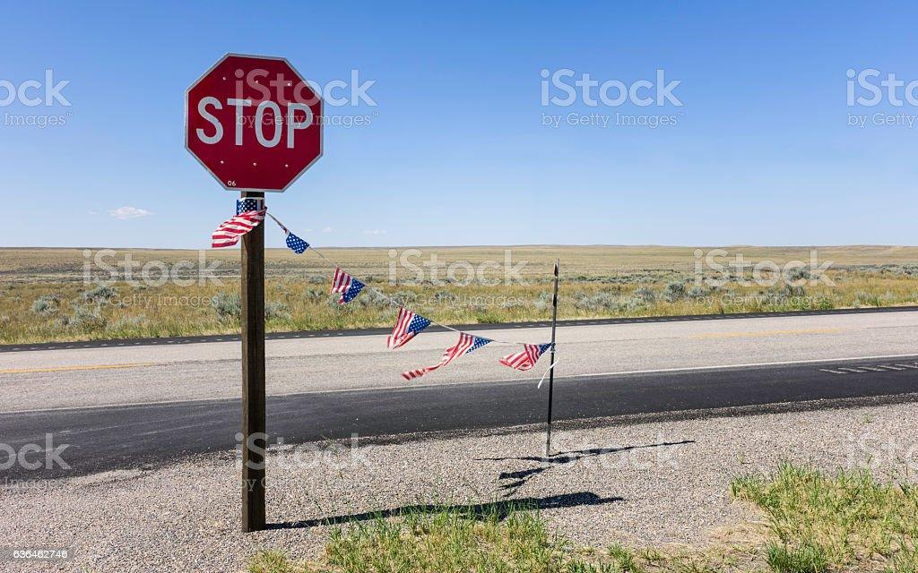 Endless prairie along IS 25 near Cheyenne, Kansas, USA. stock photo