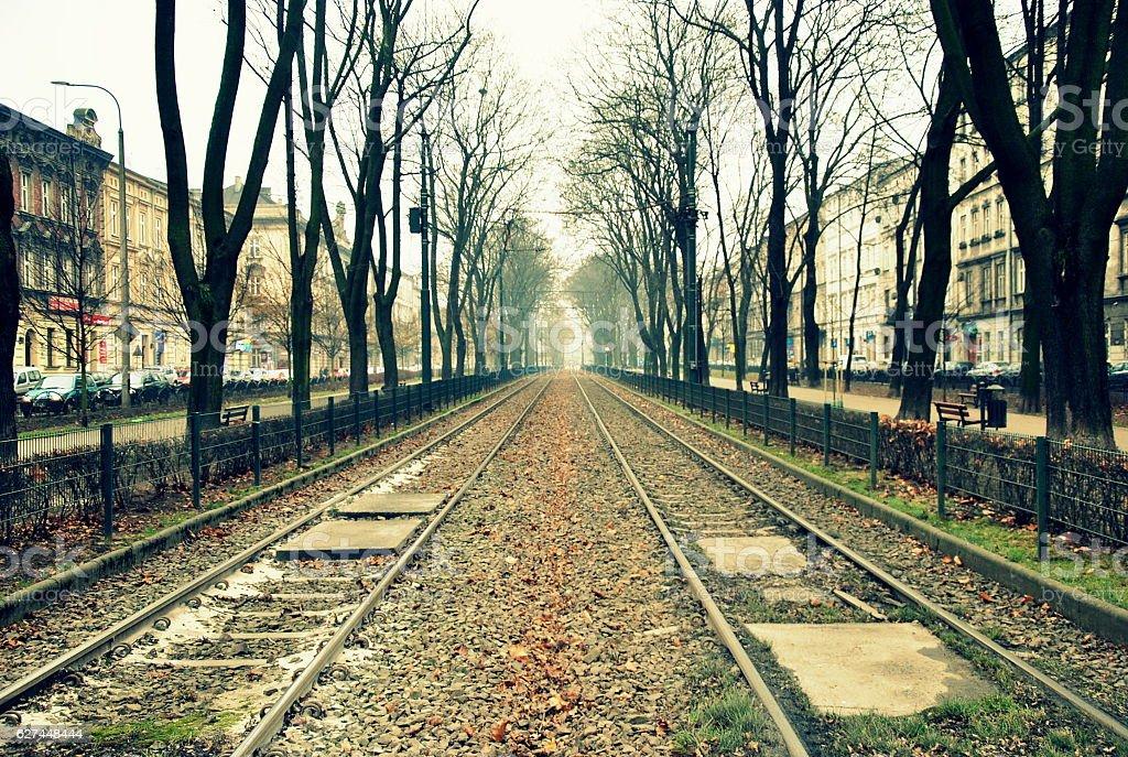 Endless rail stock photo