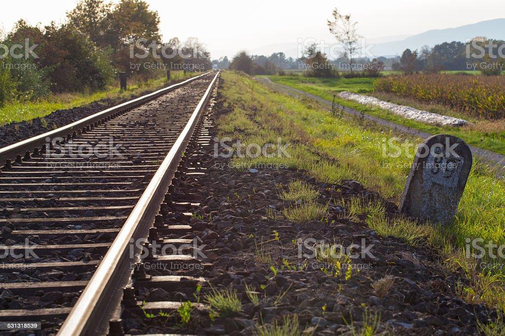Endless railroad to the horizon stock photo
