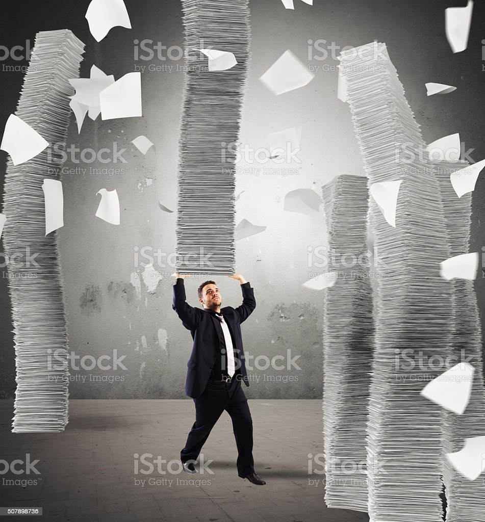 Endless stacks of sheets stock photo