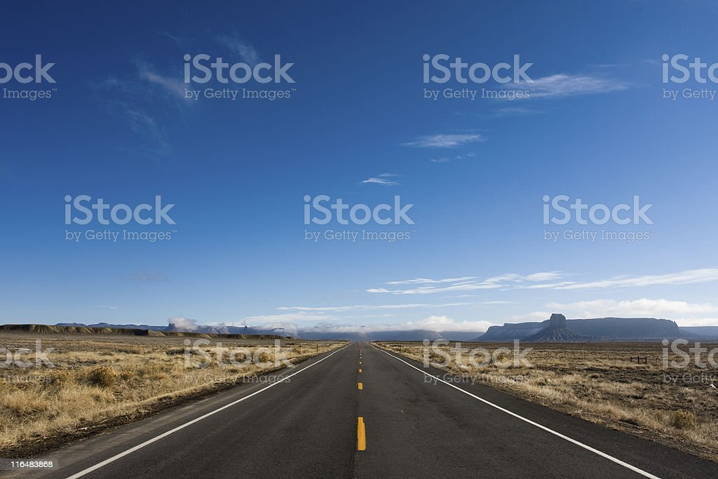 Endless straight highway going into the horizon royalty-free stock photo