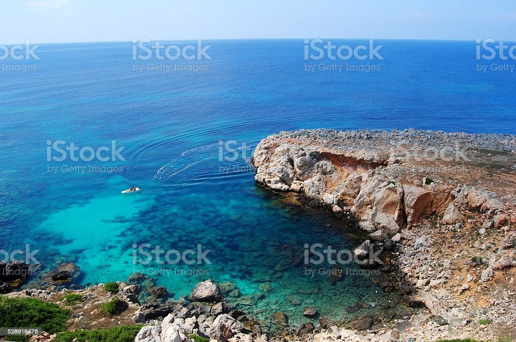 Endless views of horizon from Zafer burnu in Cyprus. stock photo