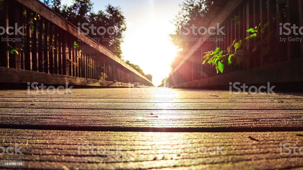 Endless walk to the beach of St. Augustine, Florida stock photo