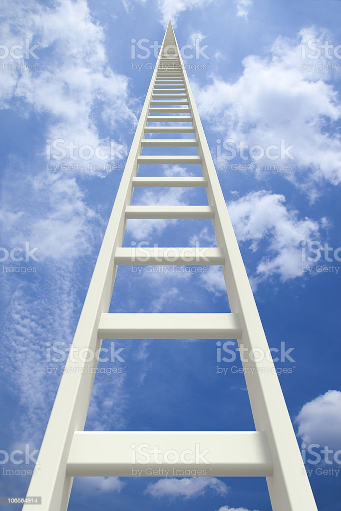 Endless white ladder going up royalty-free stock photo