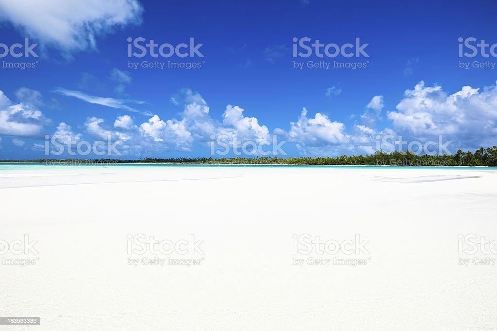 Endless White Sand Beach Fakarava Tuamotu Archipelago French Polynesia royalty-free stock photo