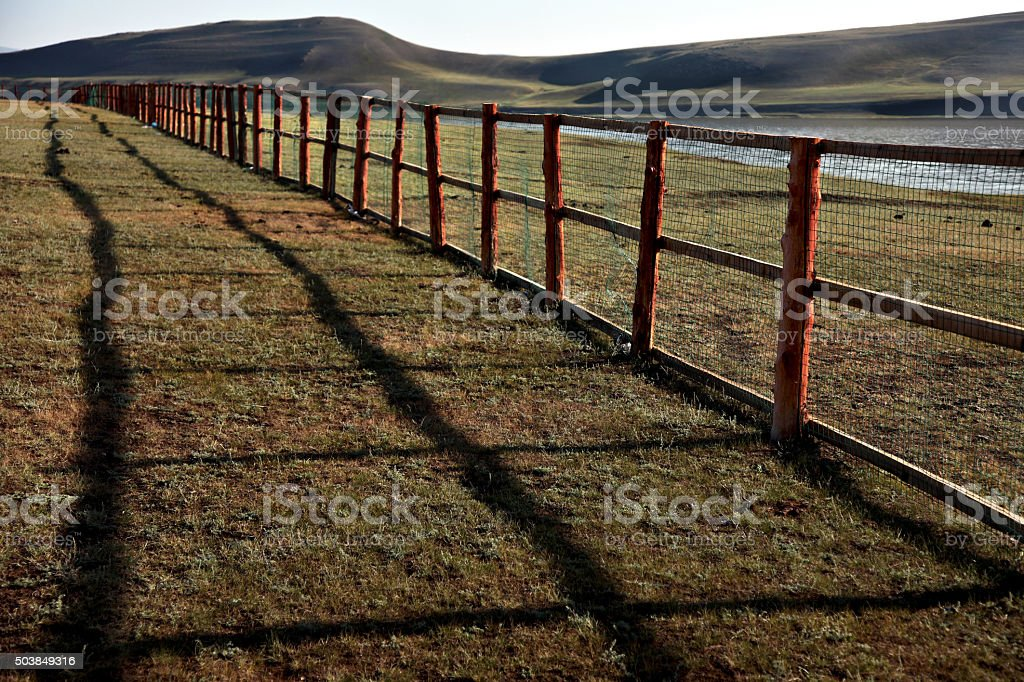 endless wooden fence stock photo