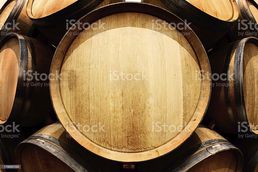 End-on view of oak wine barrel with copy space stock photo