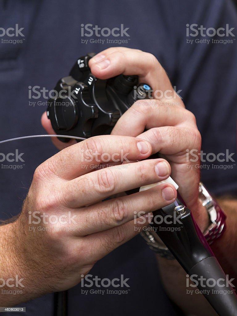 Endoscope with laser stock photo