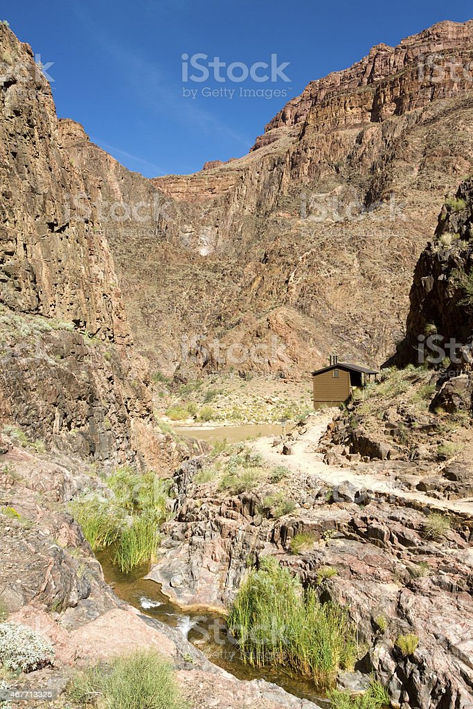 Endpoint of Bright Angle Trail in Grand Canyon stock photo