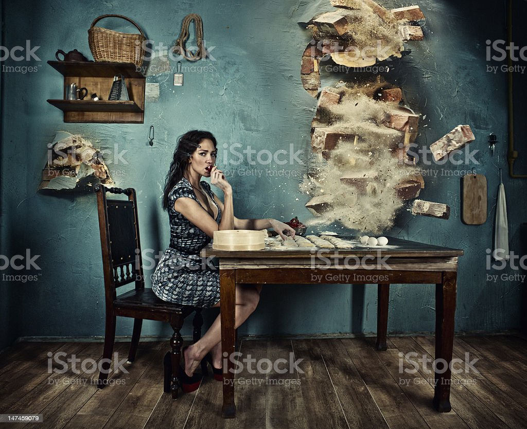 endurance and tranquillity of Italian housewife stock photo