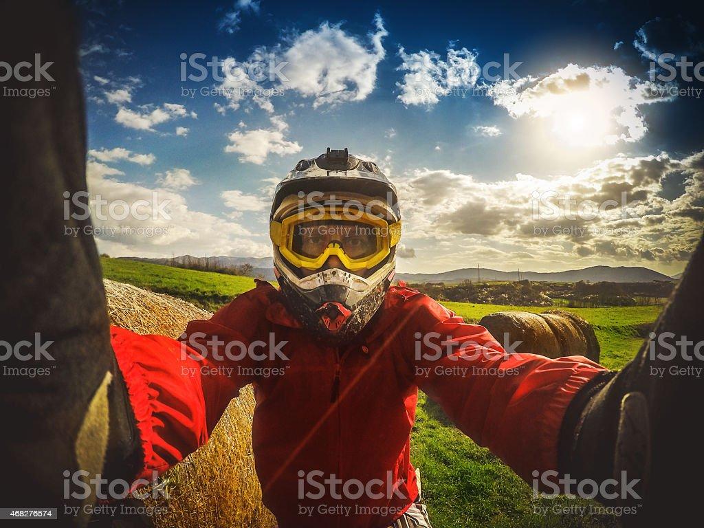 Enduro Motocross rider taking a selfie stock photo