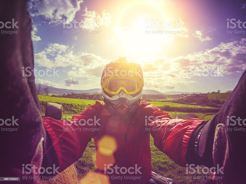 Enduro Motocross rider taking a selfie stock photo