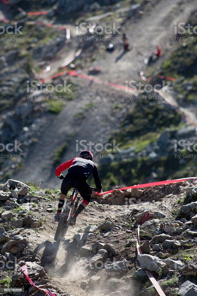 Enduro Mountain Bike Racer stock photo