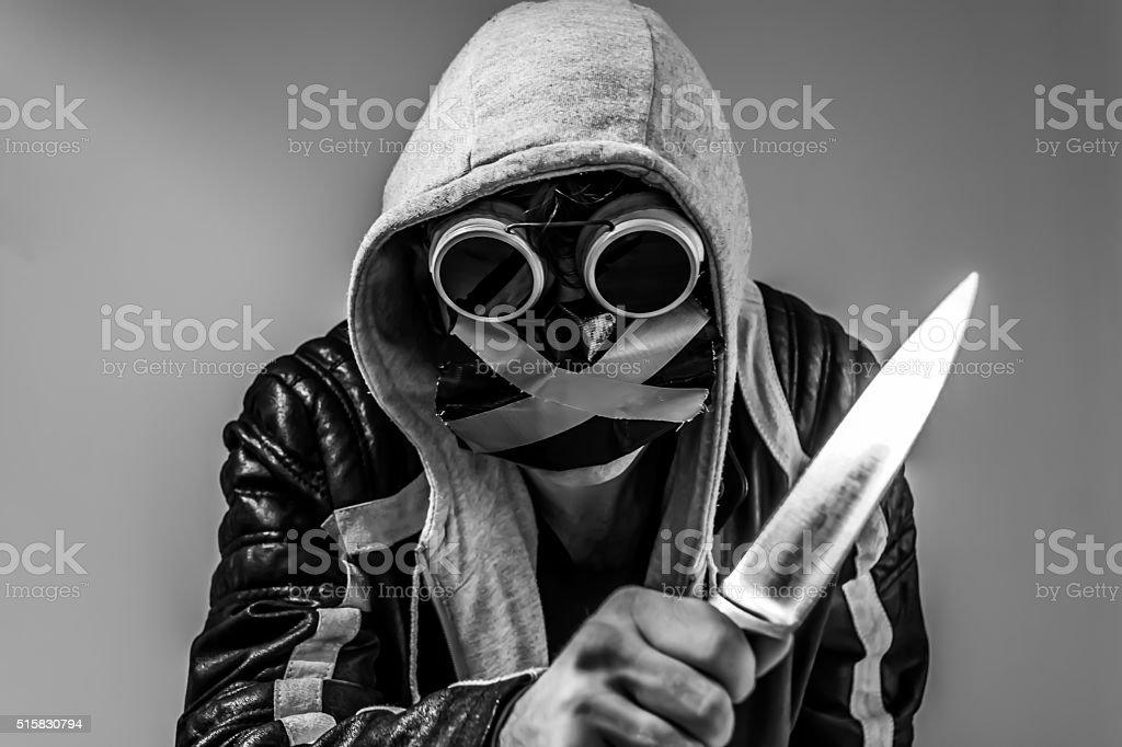 Endzeitmann mit Messer stock photo