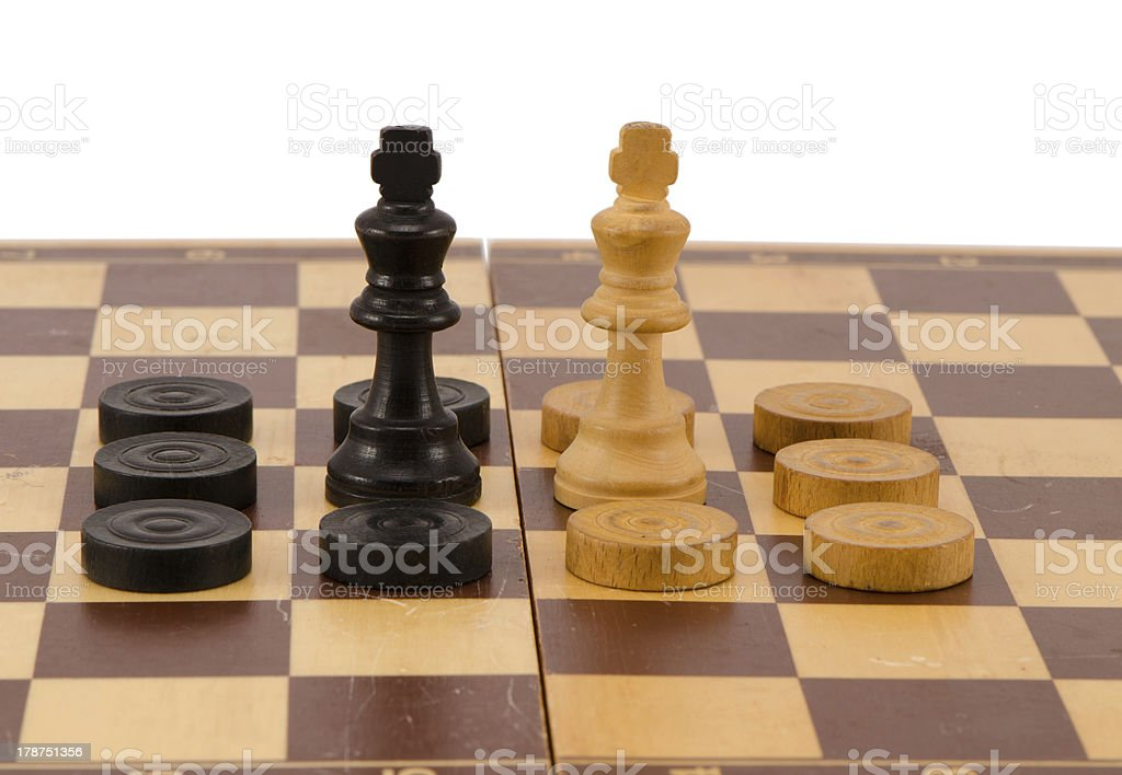 enemy chess queen surround checkers board isolated royalty-free stock photo