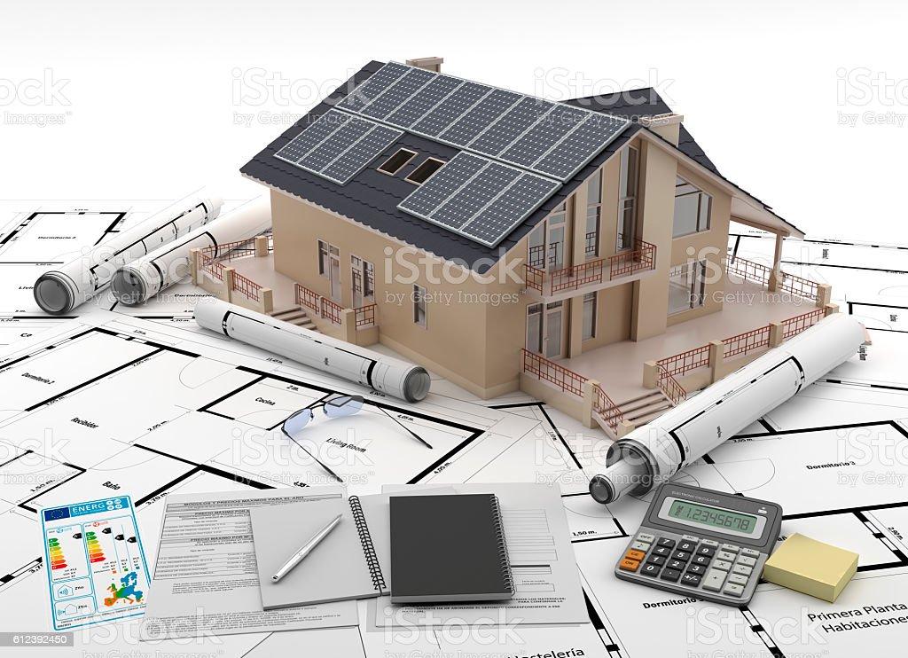 Energía solar para la casa. Ahorro energético. stock photo